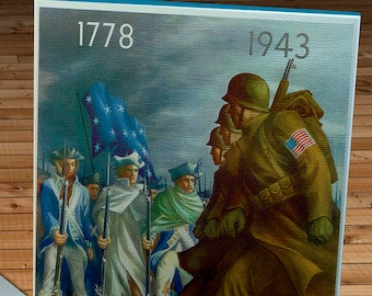1943 Vintage World War II Poster - Americans will always fight for liberty  - US War Department - Canvas Gallery Wrap