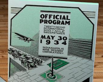 1934 Vintage Indianapolis 500 Racing Program - Canvas Gallery Wrap