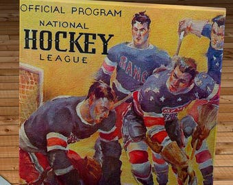 1935-1936 Vintage New York Americans Hockey Program - Canvas Gallery Wrap