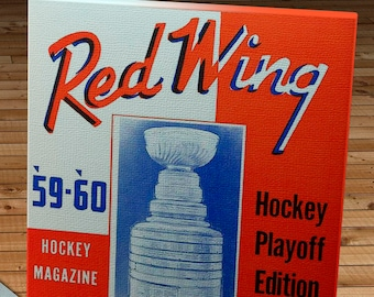 1959-1960 Vintage Detroit Red Wings Hockey Program - Canvas Gallery Wrap