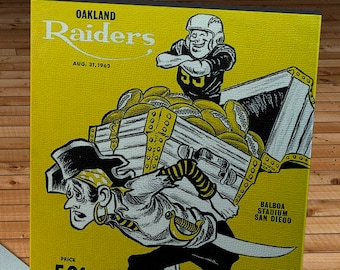 1963 Vintage Oakland Raiders - San Diego Chargers Football Program - Canvas Gallery Wrap