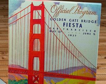 1937 Vintage San Francisco Golden Gate Bridge Fiesta Program - Canvas Gallery Wrap