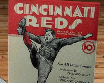 1934 Vintage Cincinnati Reds Football Schedule - Canvas Gallery Wrap