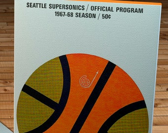 1967- 1968 Vintage Seattle SuperSonics Basketball Program - Canvas Gallery Wrap