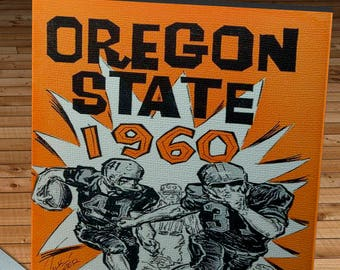 1960 Vintage Oregon State Beavers Football Media Guide - Canvas Gallery Wrap - 10 x 20