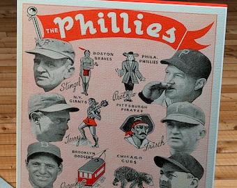 1941 Vintage Philadelphia Phillies Baseball Scorecard- Canvas Gallery Wrap - 10 x 20