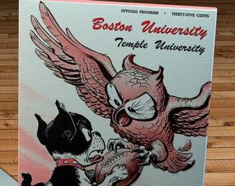 1949 Vintage Boston University Terriers -Temple University Owls Football Program - Canvas Gallery Wrap