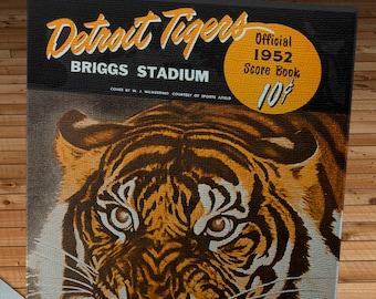 1952 Vintage Detroit Tigers Scorecard - Canvas Gallery Wrap -