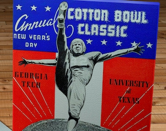 1943 Vintage Georgia Tech - University of Texas - Cotton Bowl Classic Program 12 x 16