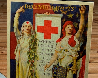 1918 Vintage Red Cross Christmas Roll Poster - Canvas Gallery Wrap