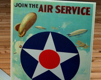 1919 Vintage Join the Air Service Poster - Canvas Gallery Wrap
