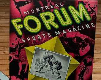 1944-1945 Vintage Montreal Canadiens Hockey Program Cover - Canvas Gallery Wrap