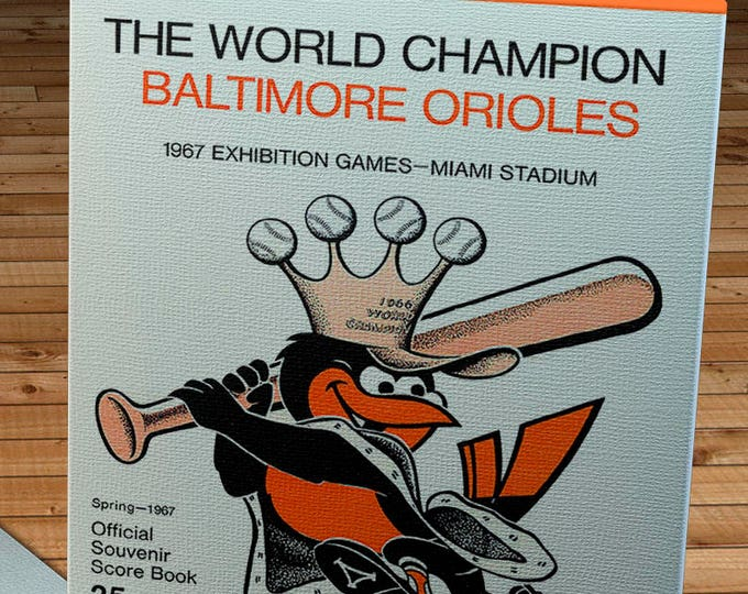 Featured listing image: 1967 Vintage Baltimore Orioles Spring Training Programs - World Champions - Canvas Gallery Wrap -