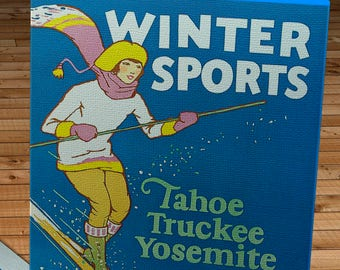 1926 Vintage Winter Sports - Tahoe, Truckee, and Yosemite - Southern Pacific - Travel Poster - Canvas Gallery Wrap -