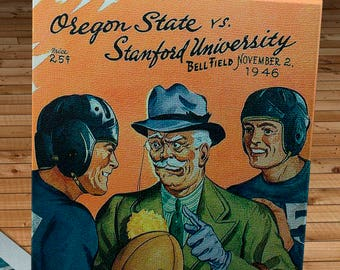 1946 Vintage Oregon State Beavers- Stanford Football Program - Canvas Gallery Wrap