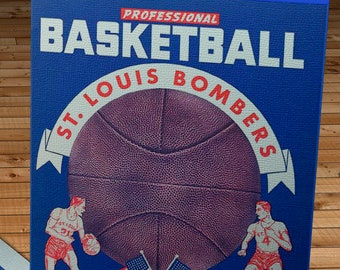 1949- 1950 Vintage St Louis Bombers Basketball Program - Canvas Gallery Wrap