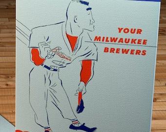 1950 Vintage Milwaukee Brewers Schedule - Canvas Gallery Wrap