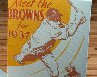 1937 Vintage St. Louis Browns Baseball Media Guide - Canvas Gallery Wrap