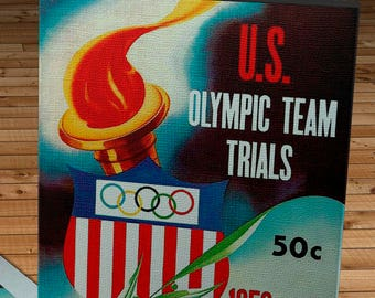 1956 Vintage US Olympic Team Trails - Basketball - Canvas Gallery Wrap