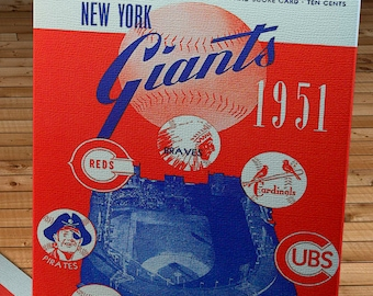 1951 Vintage New York Giants Baseball Scorecard - Canvas Gallery Wrap
