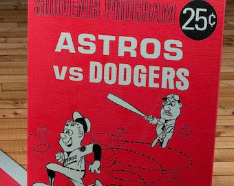 1966 Vintage Houston Astros - Los Angeles Dodgers Program - Canvas Gallery Wrap -