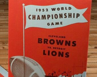 1952 Vintage Cleveland Browns - Detroit Lions Football Program Cover - Canvas Gallery Wrap