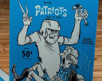 1963 Vintage Boston Patriots-San Diego Chargers Football Program - Canvas Gallery Wrap