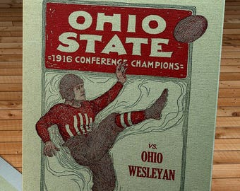 1917 Vintage Ohio State Football Program - Canvas Gallery Wrap -