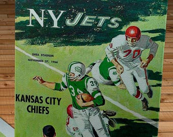1966 Vintage New York Jets - Kansas City Chiefs Football Program - Canvas Gallery Wrap