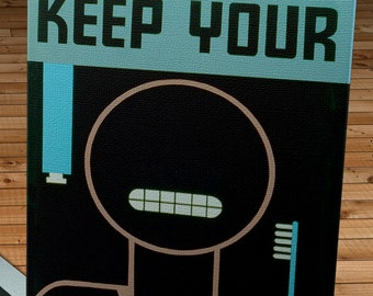 Vintage WPA Poster - Keep Your Teeth Clean Blue Version- Canvas Gallery Wrap