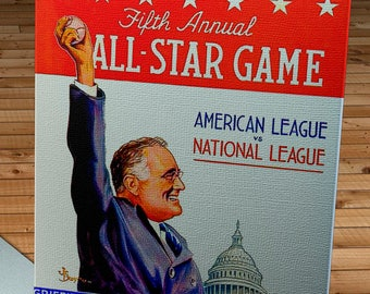 1937 Vintage Washington Senators - Griffith Stadium All-Star Game Program  - Canvas Gallery Wrap