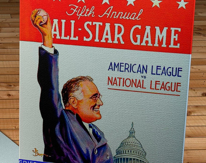 Featured listing image: 1937 Vintage Washington Senators - Griffith Stadium All-Star Game Program  - Canvas Gallery Wrap