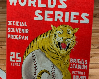 1940 Vintage Cincinnati Reds - Detroit Tigers World Series Program -  Canvas Gallery Wrap