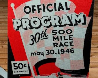 1946 Vintage Indianapolis 500 Racing Program - Canvas Gallery Wrap