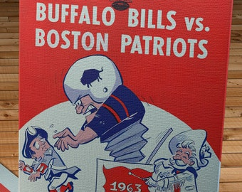 1963 Vintage Boston Patriots - Buffalo Bills Football Program Cover - Canvas Gallery Wrap