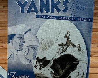 1948 Vintage Chicago Bears - Boston Yanks Football Program Cover - Canvas Gallery Wrap