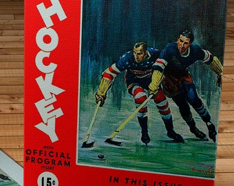 1936-1937 Vintage New York Rangers Hockey Program - Canvas Gallery Wrap -  14 x 18 #IH009