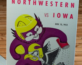 1952 Vintage Northwestern Wildcats - Iowa Hawkeyes  Football Program Cover - Canvas Gallery Wrap
