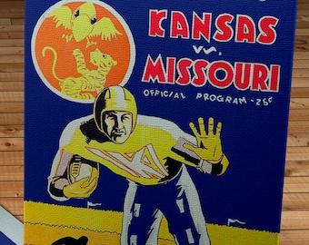 1931 Vintage Kansas - Missouri Football Program Cover - Canvas Gallery Wrap