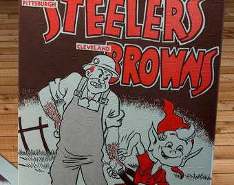 1953 Vintage Cleveland Browns - Pittsburgh Steelers Football Program - Canvas Gallery Wrap   #FB025