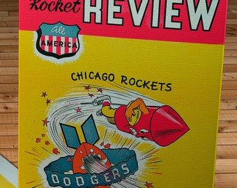 1948 Vintage Brooklyn Dodgers - Chicago Rockets Football Program Cover - Canvas Gallery Wrap