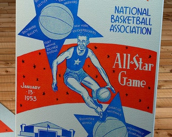 1953 Vintage All-Star Game Basketball Program - Canvas Gallery Wrap   #BK005