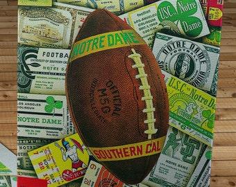 1966 Vintage USC Trojans  - Notre Dame Fighting Irish Football Program - Canvas Gallery Wrap   #FB061