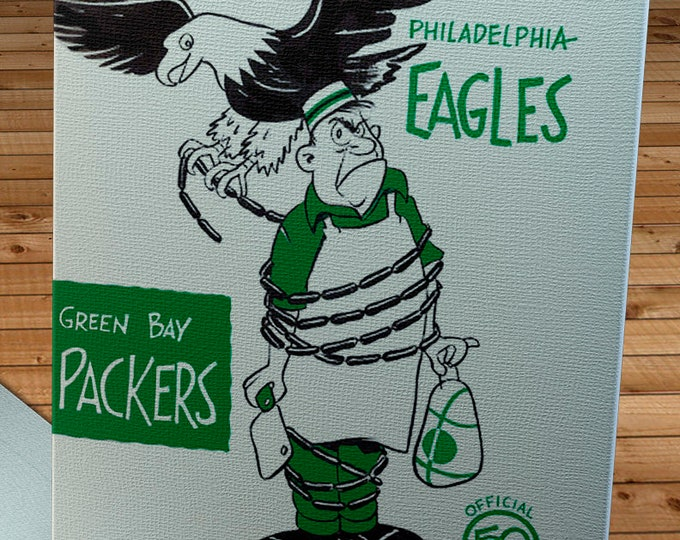 Featured listing image: 1962 Vintage Green Bay Packers - Philadelphia Eagles Football Program Cover - Canvas Gallery Wrap
