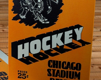 1949-1950 Vintage Chicago Black Hawks Hockey Program - Canvas Gallery Wrap   #IH010