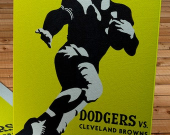 1947 Vintage Cleveland Browns - Brooklyn Dodgers - Football Program Cover - Canvas Gallery Wrap