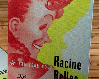 1946 Vintage Racine Belles Baseball Yearbook Cover - All-American Girls Professional Baseball League - Canvas Gallery Wrap