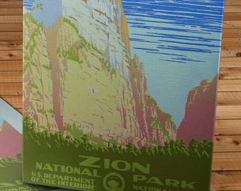 Vintage WPA Poster - Zion National Park - Canvas Gallery Wrap