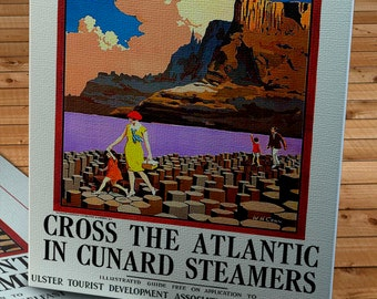 1930's Vintage Cunard Steamers - Giants Causeway, Northern Ireland  - Travel Poster - Canvas Gallery Wrap -  11 x 18 #TP009