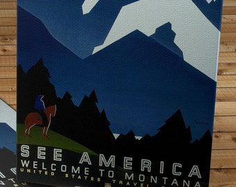 Vintage WPA Poster - See America - Welcome to Montana - Canvas Gallery Wrap  #WP025